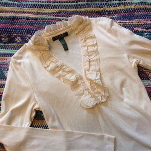 ivory RALPH LAUREN cotton ruffle tee top XS (B8)